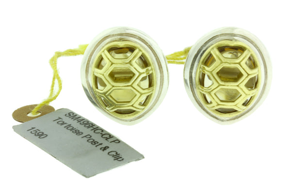 Slane & Slane tortoise post and clip earrings with citrine in 18k & sterling sil