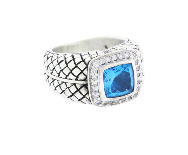 Scott Kay diamond & blue topaz ring in sterling silver.