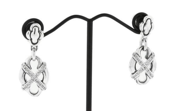 Scott Kay diamond dangle earrings in sterling silver