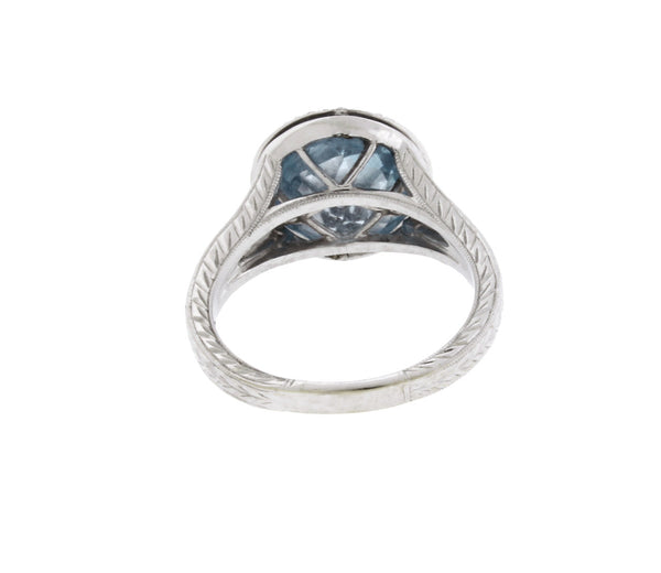 Siera Wrapped Diamond And Blue Topaz Ring In 18k white gold Size 6.75