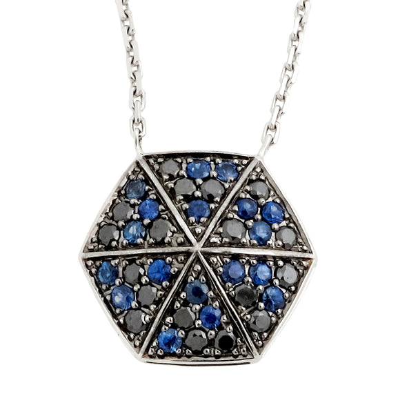"Stephen Webster ""Deco"" pave blue sapphire & black diamond necklace in 18k gold"