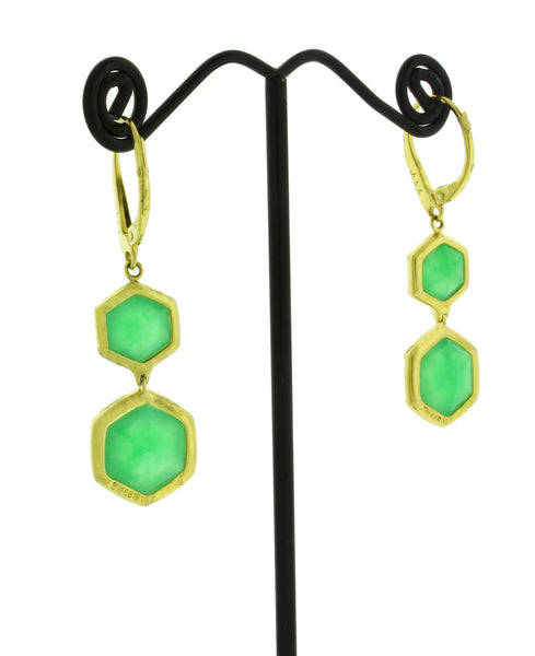 Stephen Webster Deco diamond & Crysoprase dangle earrings in 18k yellow gold