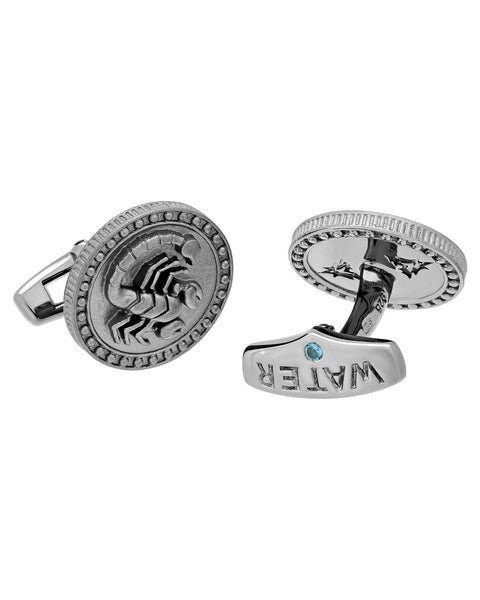 Stephen Webster Astro Coin zodiac Scorpio cufflinks in sterling silver