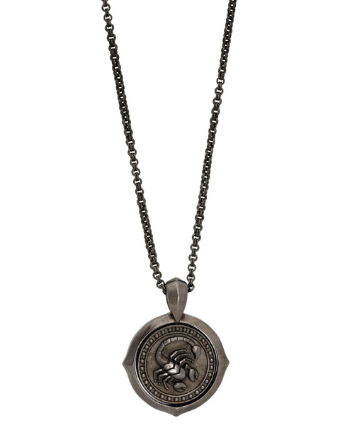 Stephen Webster Astro flip Coin zodiac Scorpio necklace in black sterling silver