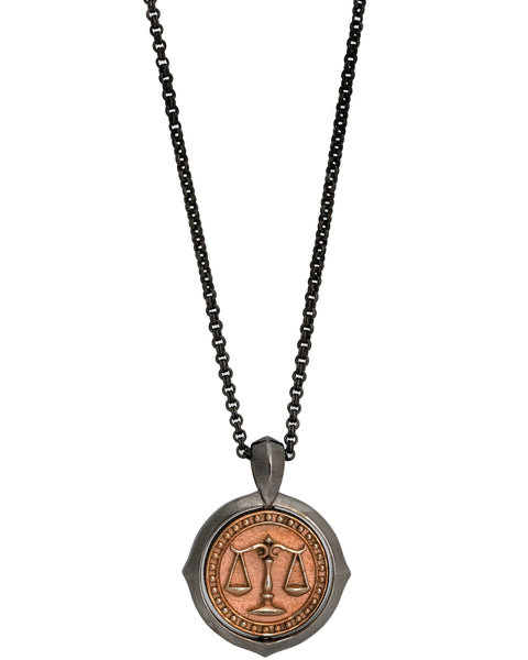 Stephen Webster Astro flip Coin zodiac Libranecklace in black sterling silver