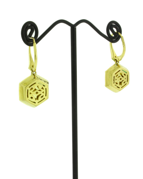 Stephen Webster Deco diamond & Crysoprase earrings in 18k yellow gold