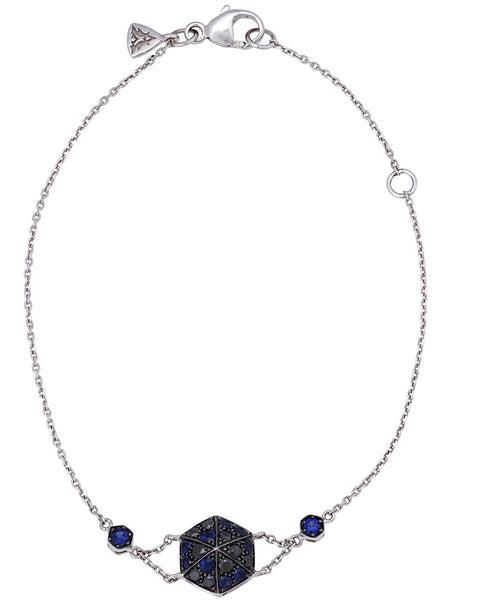 "Stephen Webster ""Deco"" pave blue sapphire & black diamond bracelet in 18k gold"