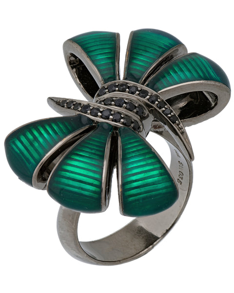 Stephen Webster Forget Me Knot black silver, Black sapphire enamel Bow ring size 7