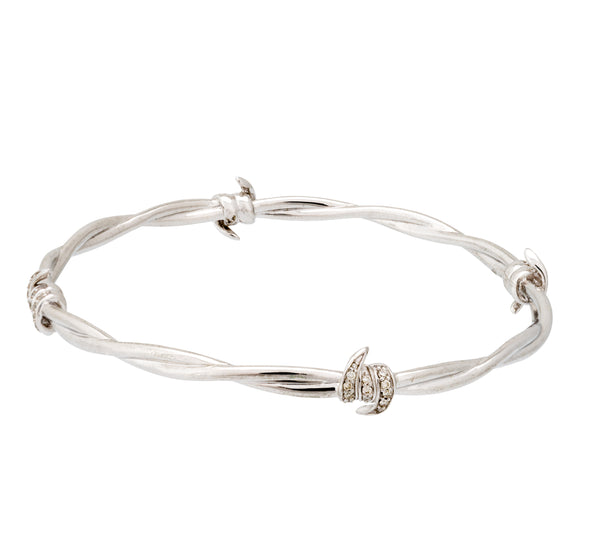 Stephen Webster Forget Me Knot diamond Barb Wire bangle bracelet silver size M