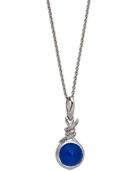 Stephen Webster Forget Me Knot diamond & blue crystal haze necklace in silver
