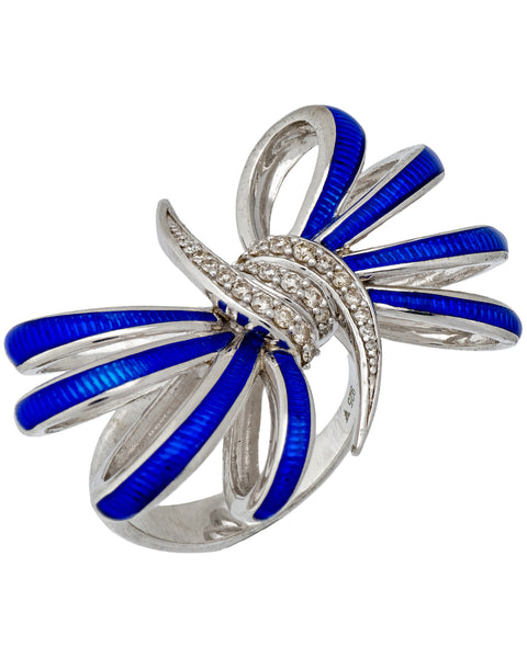 Stephen Webster Forget Me Knot diamond blue enamel Bow ring in silver size 7