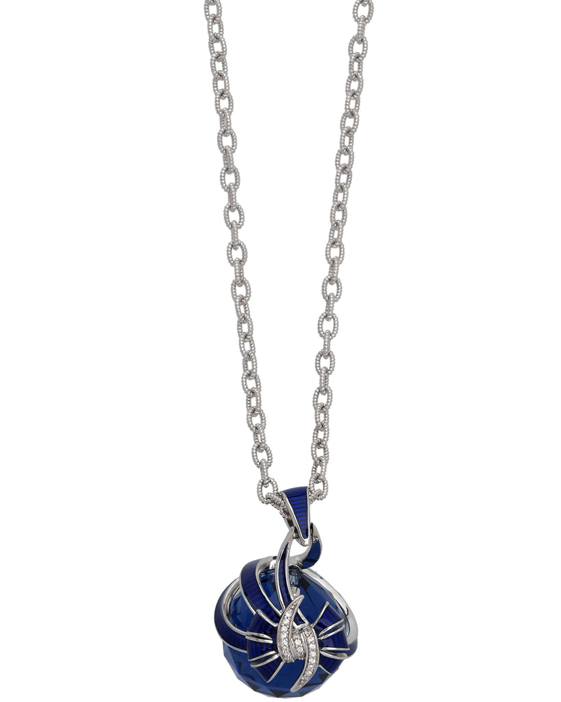 Stephen Webster Forget Me Knot blue fashion rock enamel Bow necklace in silver