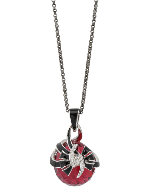 Stephen Webster Forget Me Knot red fashion rocks enamel Bow necklace in silver