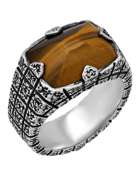 Stephen Webster Highwayman Men's Bulls eye brickwork ring in silver size 11