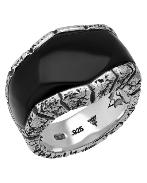 Stephen Webster Highwayman Men's oxidised inlay onyx ring size 10