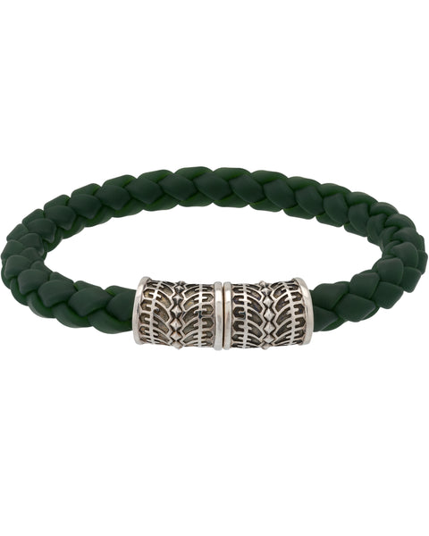 Stephen Webster Highwayman Men's sterling woven green rubber bracelet