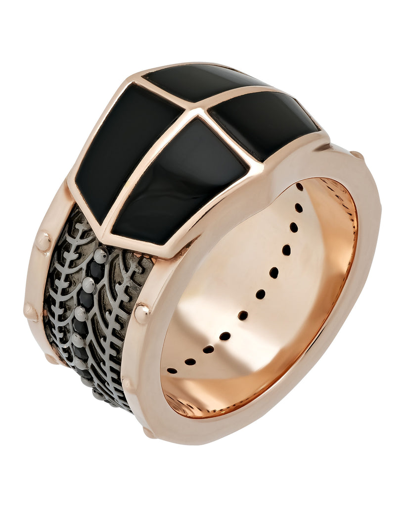 Stephen Webster Highwayman silver onyx inlay & black sapphire ring size 11