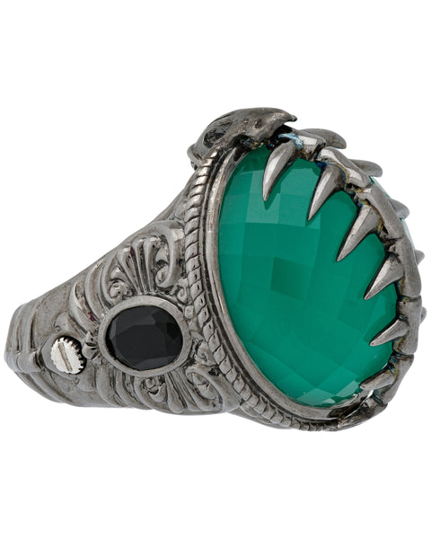Stephen Webster Jewels Verne Womens green crystal haze fish skeleton silver ring