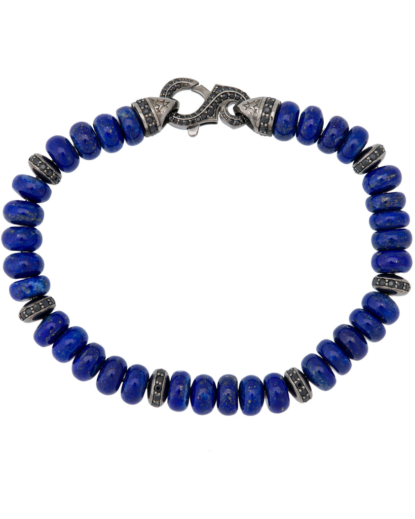 Stephen Webster Men's Thorn 6mm lapis & pave black sapphire beads bracelet