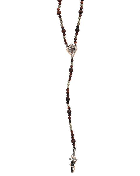 Stephen Webster Men's silver No Regrets cross & Dagger rosary bead necklace