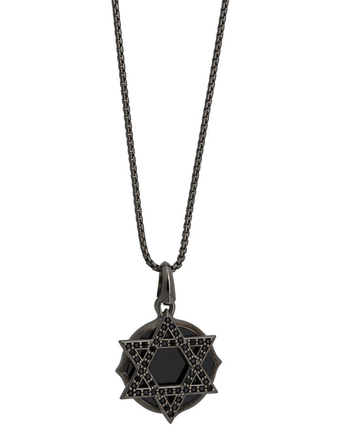 Stephen Webster black sterling silver sapphire Jewish Star double plate pendant