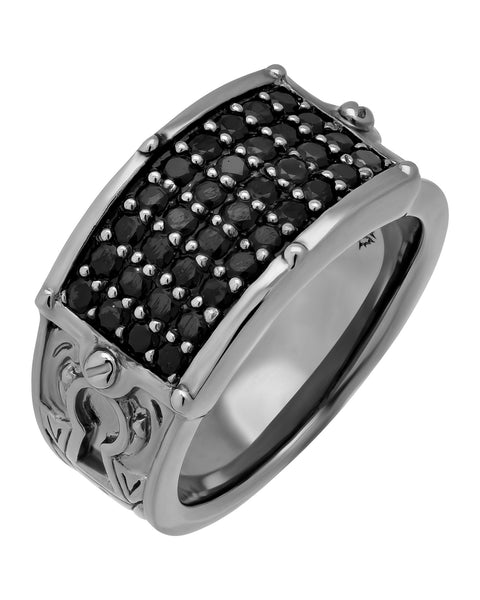 Stephen Webster black rhodium plated Men's No Regrets black sapphire ring.
