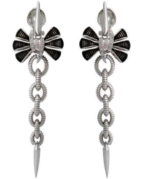 Stephen Webster diamond silver Forget Me Knot black enamel Bow earring