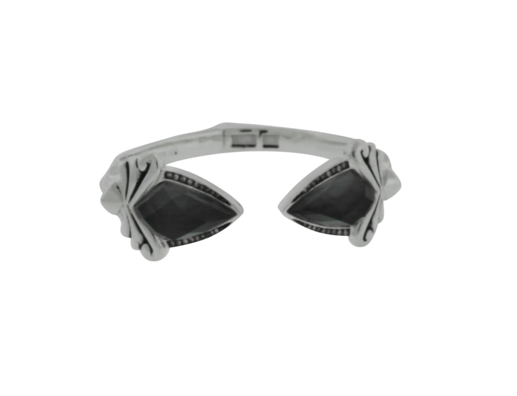 Stephen Webster silver Superstud grey crystal haze & diamond hinged bangle