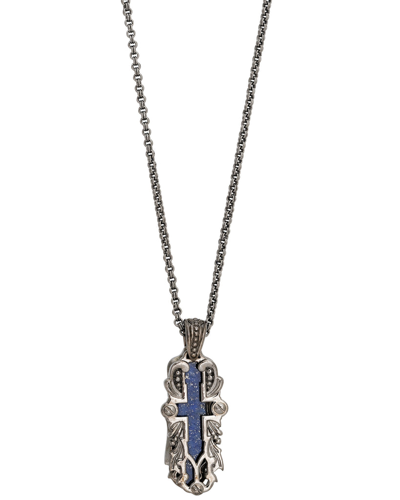 Stephen Webster unisex London calling lapis cross necklace pendant in sterling 26""