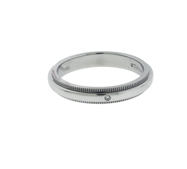 TIFFANY & CO 3 mm diamond milgrain wedding band in platinum 6