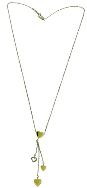 TIFFANY & CO 18k 2 tone white & yellow gold dangle heart necklace