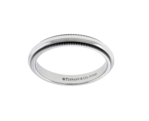 TIFFANY & CO 3 mm milgrain wedding band in platinum 6.75
