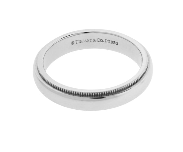 TIFFANY & CO 4 mm milgrain wedding band in platinum 6