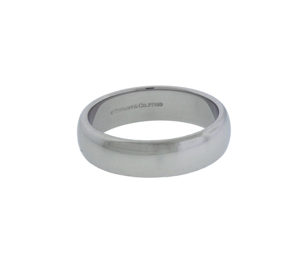 TIFFANY & CO 5 mm wide wedding band Ring In platinum Size 10