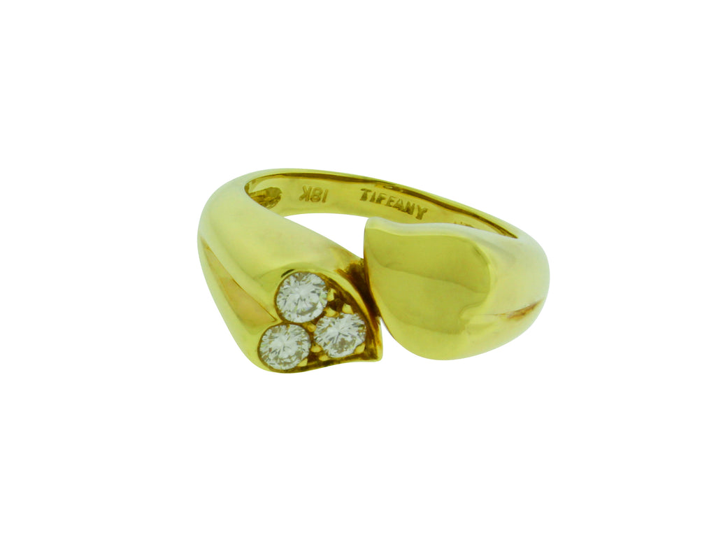 c10e8c382 TIFFANY & CO pave diamond double heart ring in 18k yellow gold size 5.5