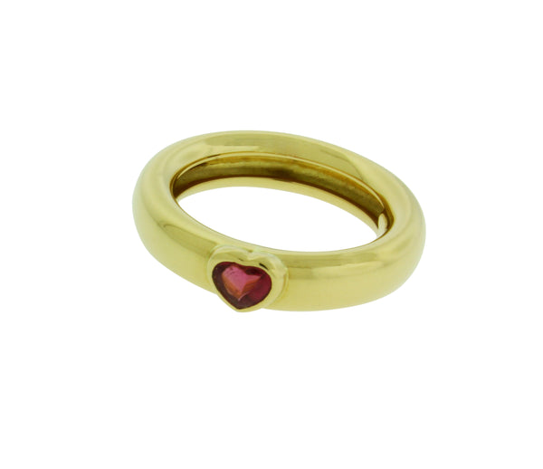 TIFFANY & CO pink tourmaline heart ring in 18k yellow gold size 6.5