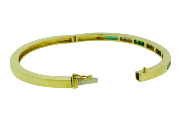 TIFFANY & Co diamond  & Emerald bangle bracelet in 18k yellow gold size Small
