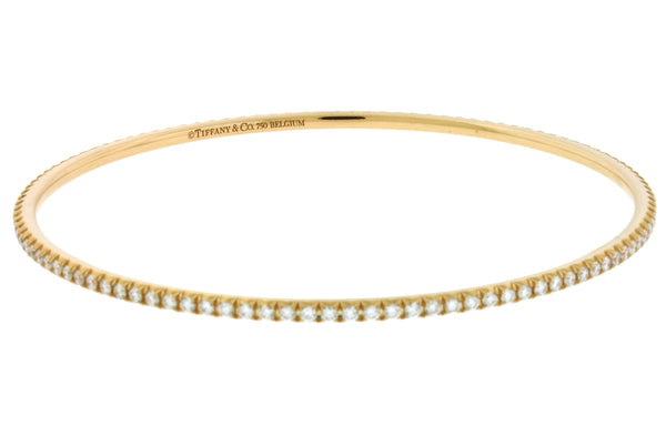 2ff82e8d4 Sale Sold Out TIFFANY Metro diamond eternity bracelet bangle in 18k rose  gold size Medium