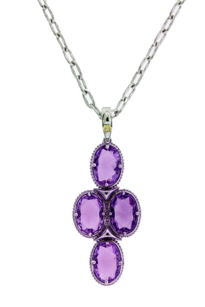 Tacori SN15201 Silver Oval Pendant / Necklace With Amethyst 18k Gold And Silver