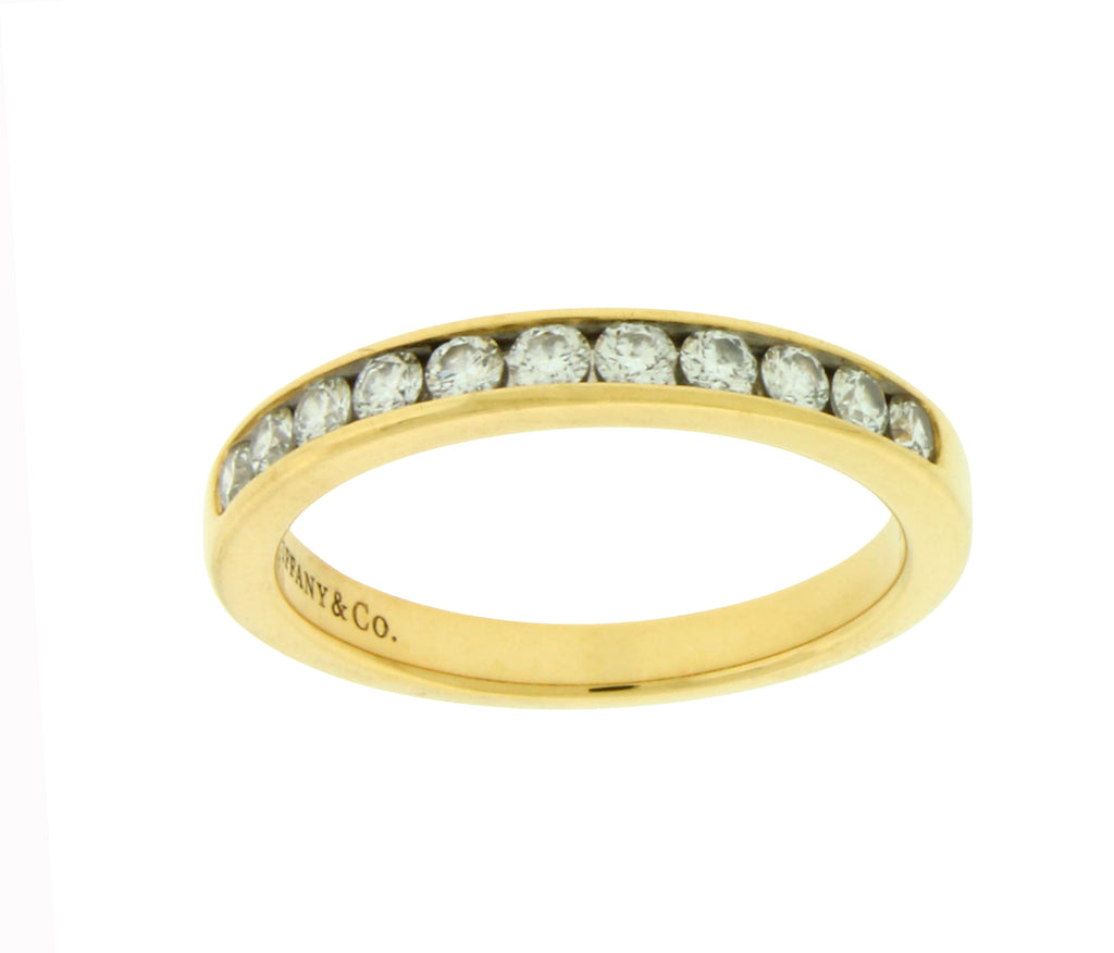 Tiffany & Co 3 mm 18k yellow gold Channel diamond band ring size 6.75