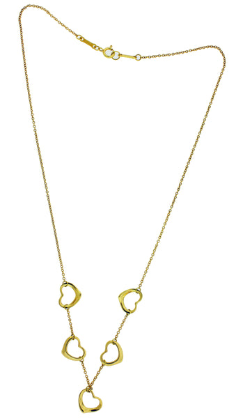 Tiffany & Co Elsa Peretti 18k yellow gold 5 open heart Necklace
