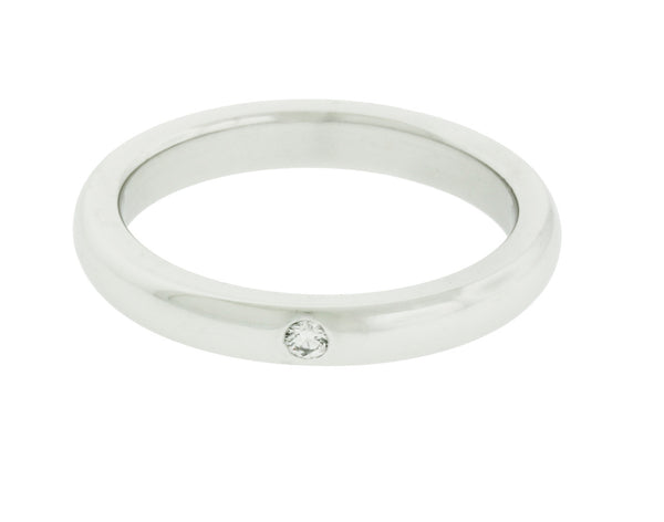 Tiffany & Co Elsa Peretti band ring with a round diamond in platinum size 4.5