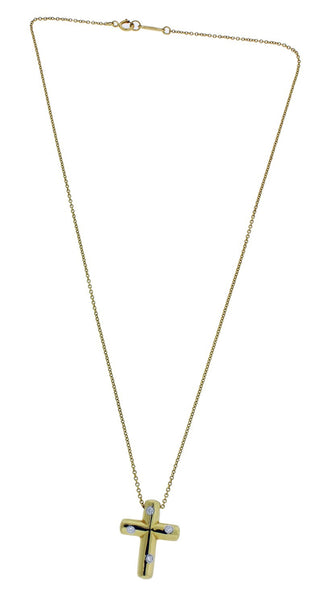Tiffany & Co Elsa Peretti diamond cross Necklace in 18k and platinum 15""
