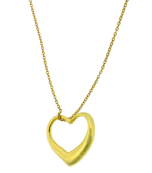 Tiffany & Co Elsa Peretti large open heart Necklace in 18k 30 inches