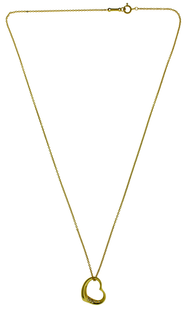 8eaa604cd Tiffany & Co Elsa Peretti 18k y gold small diamond open heart Necklace –  JEWELRY BY DAVID | FINE JEWELRY & ACCESSORIES