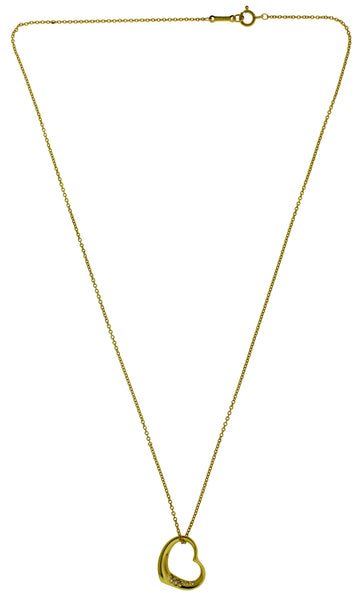 Tiffany & Co Elsa Peretti 18k y gold small diamond open heart Necklace
