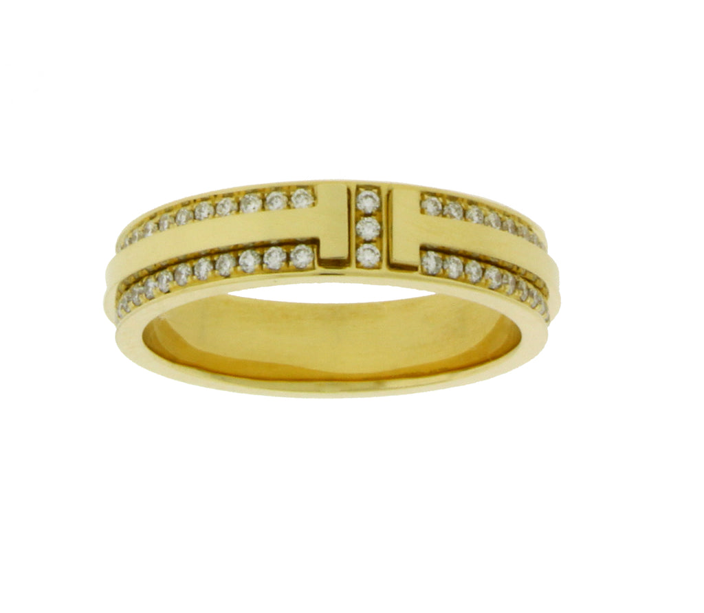 61c474933 ... Tiffany & Co T Two Narrow diamond ring in 18k yellow Gold size ...