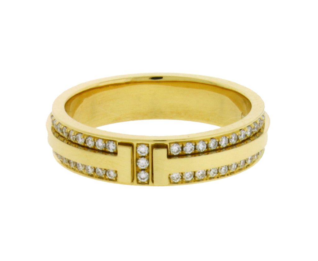 b073f1240 ... Tiffany & Co T Two Narrow diamond ring in 18k yellow Gold size ...