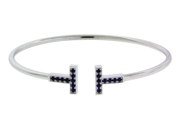 Tiffany & Co T wire Sapphire bracelet bangle in 18k white Gold size M