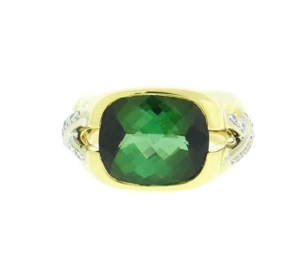 Tiffany & Co diamond & 4 carat Green Tourmaline Women's X Ring 18k Gold Size 5.5